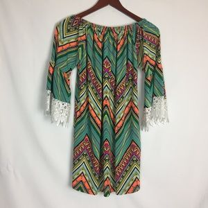 Win Win Size XL Tunic Dress With Lace 3/4 Sleeve